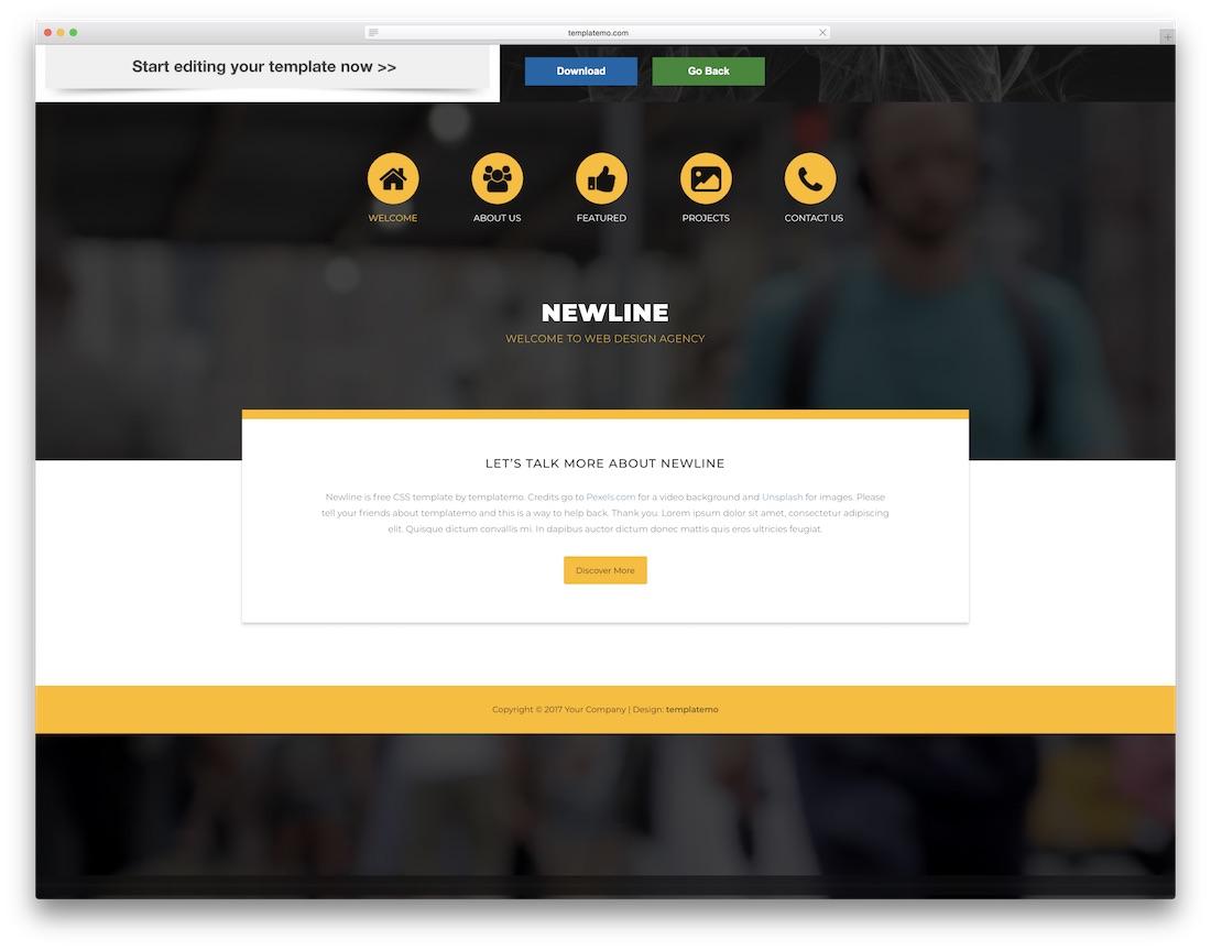 newline website template