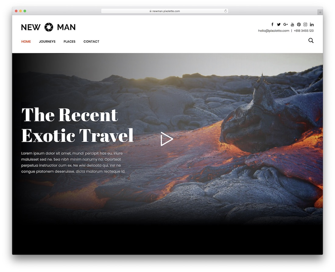 newman wordpress photography blog theme