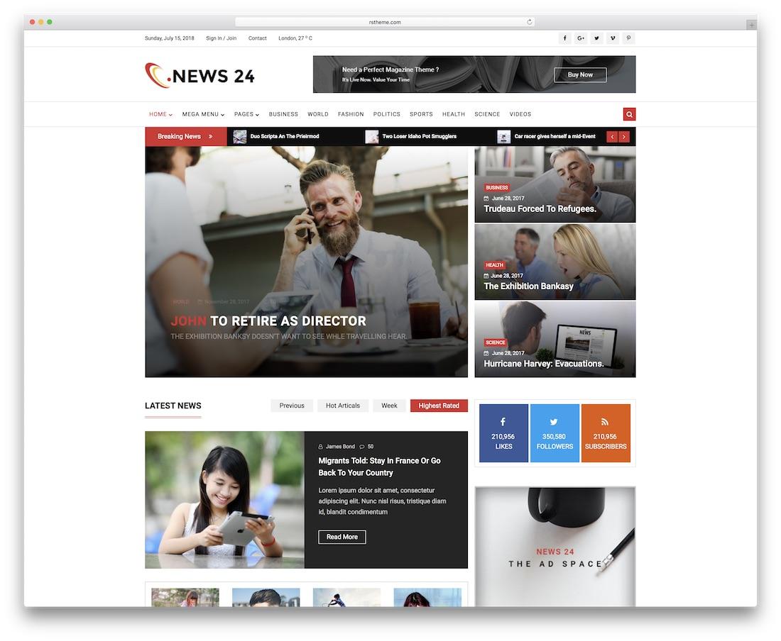 news 24 news website template