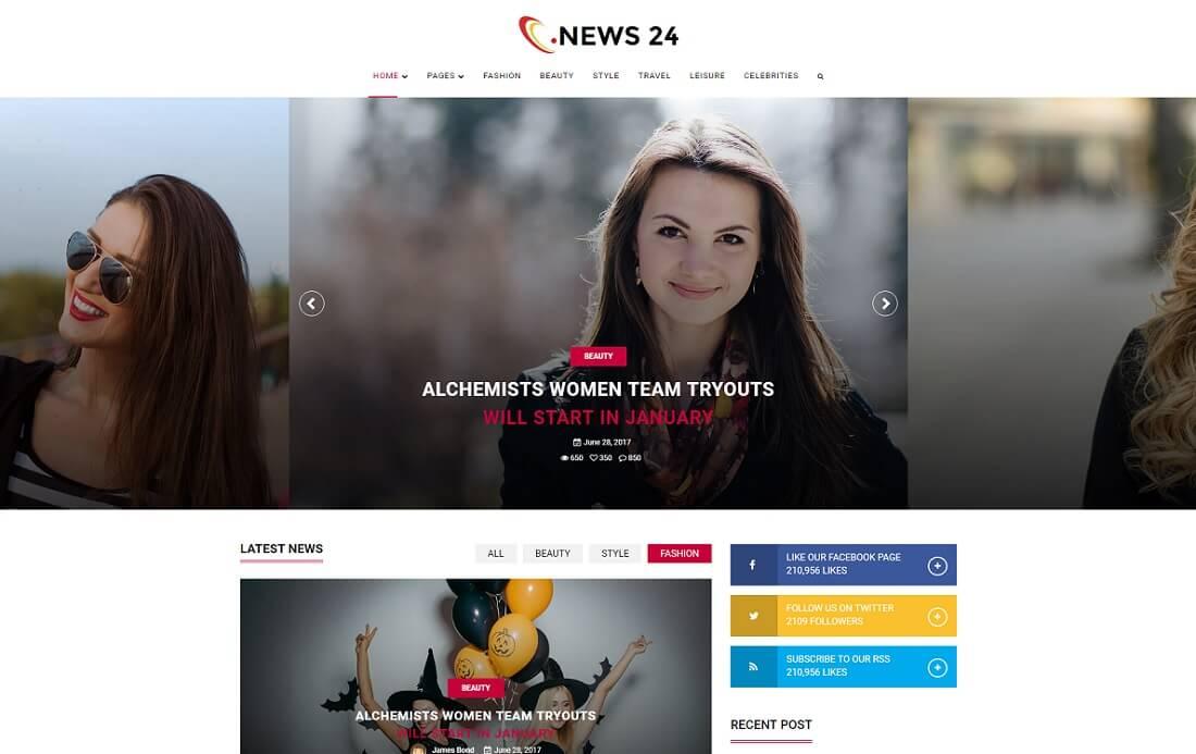 news 24 video website template