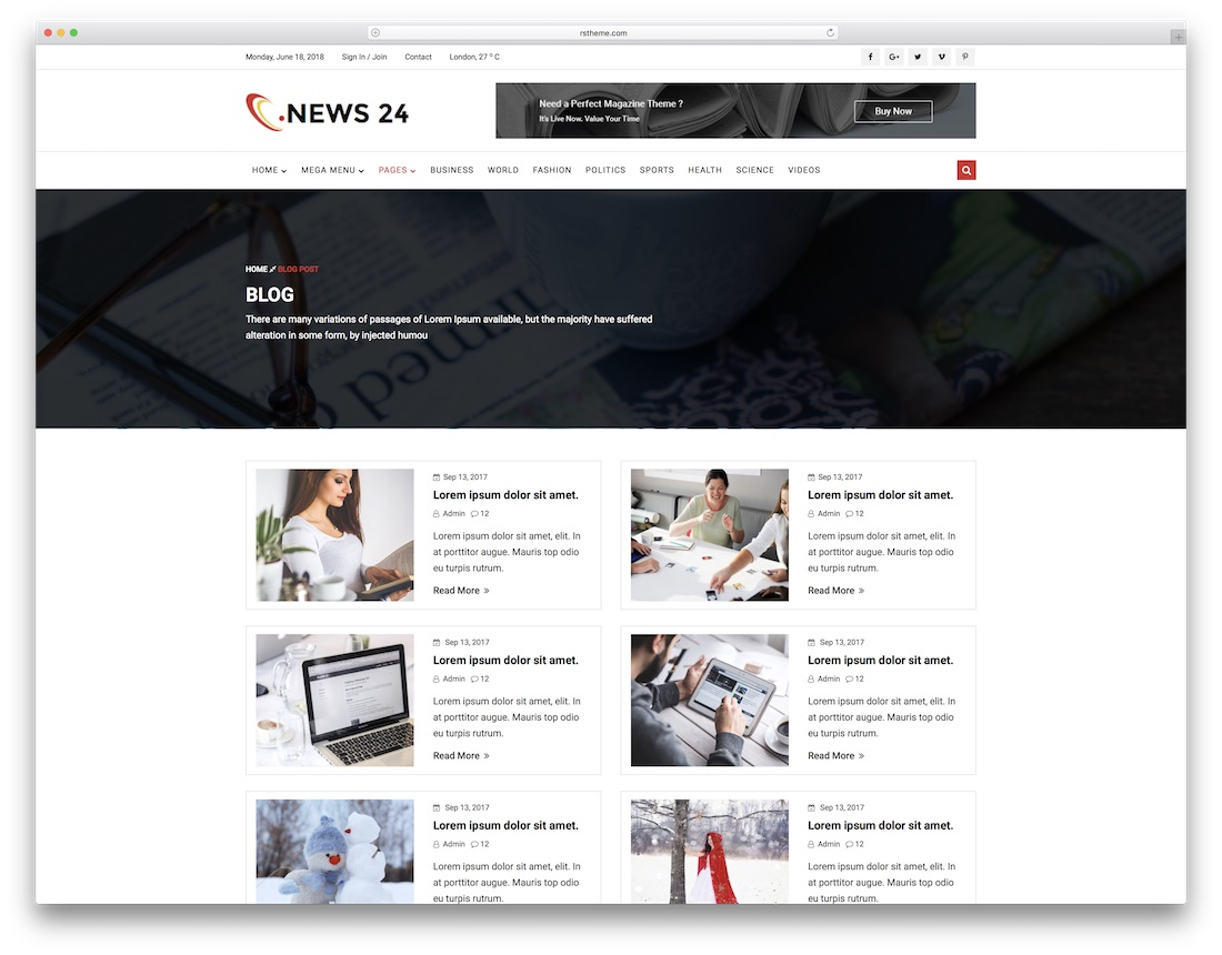 news 24 writer website template