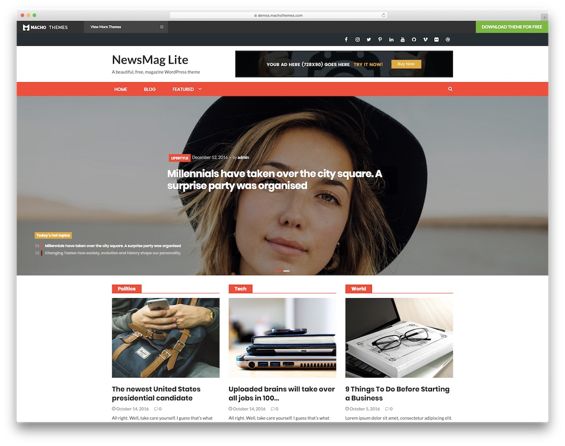 news mag lite free news website template
