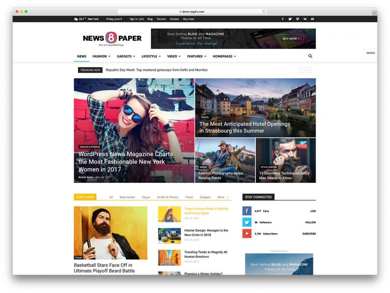 Top 40 Responsive Magazine News WordPress Themes For Blogging And News Sites 2017