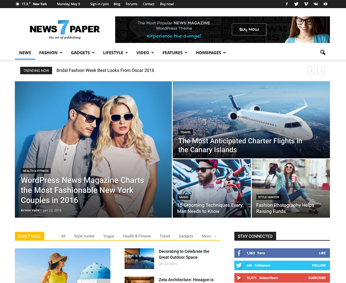Top 30 Responsive Magazine News WordPress Themes For Blogging And News Sites 2017