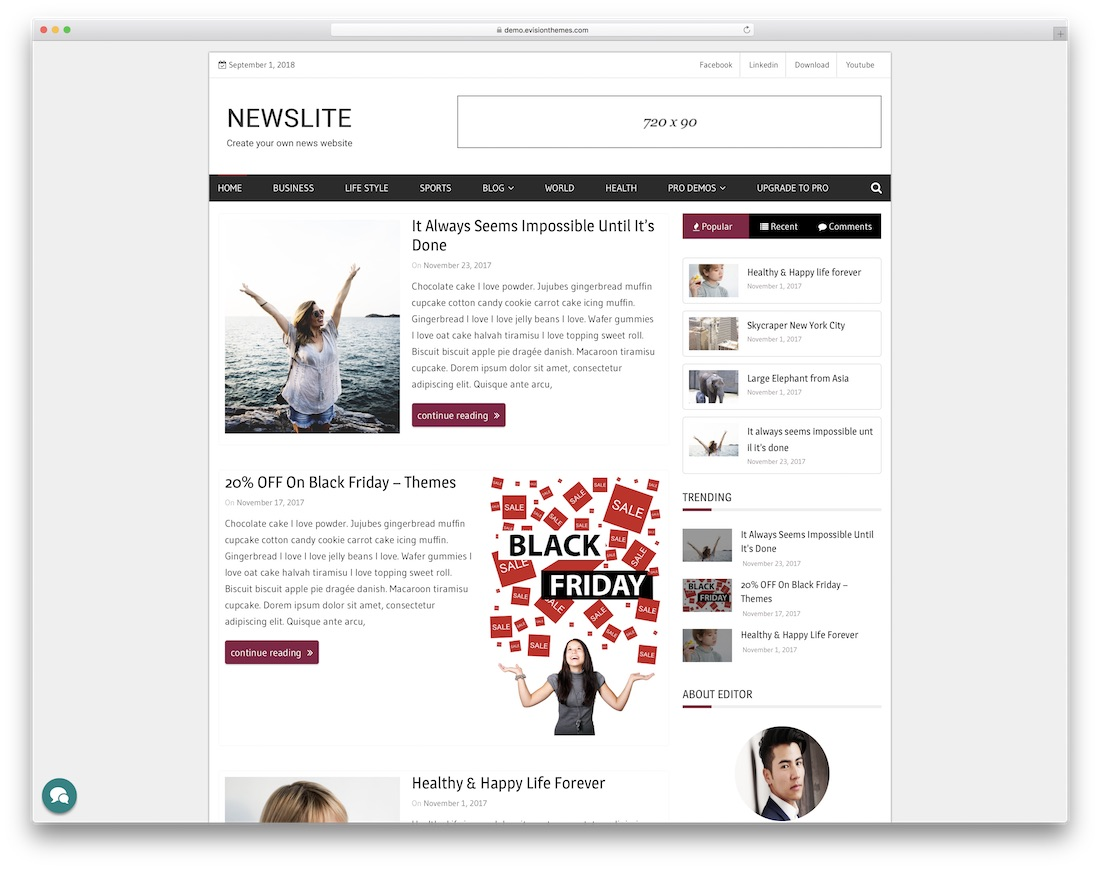 newslite free news website template