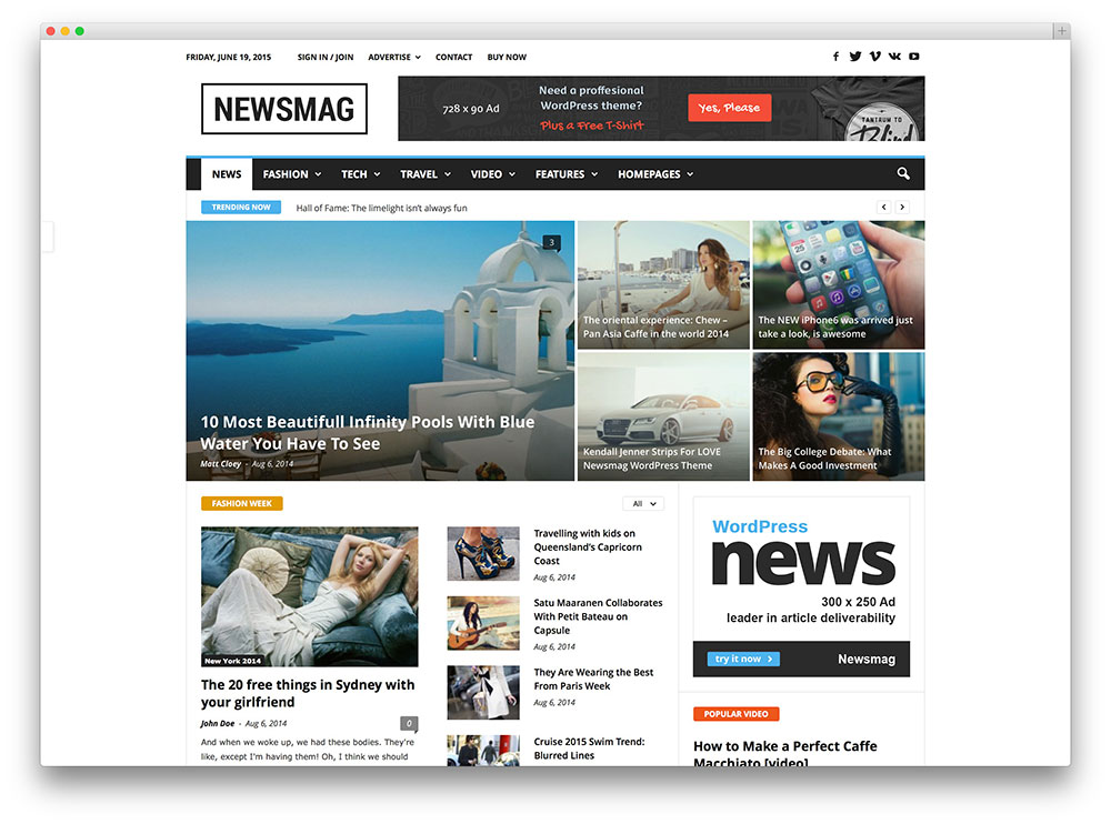 newsmag simple magazine theme
