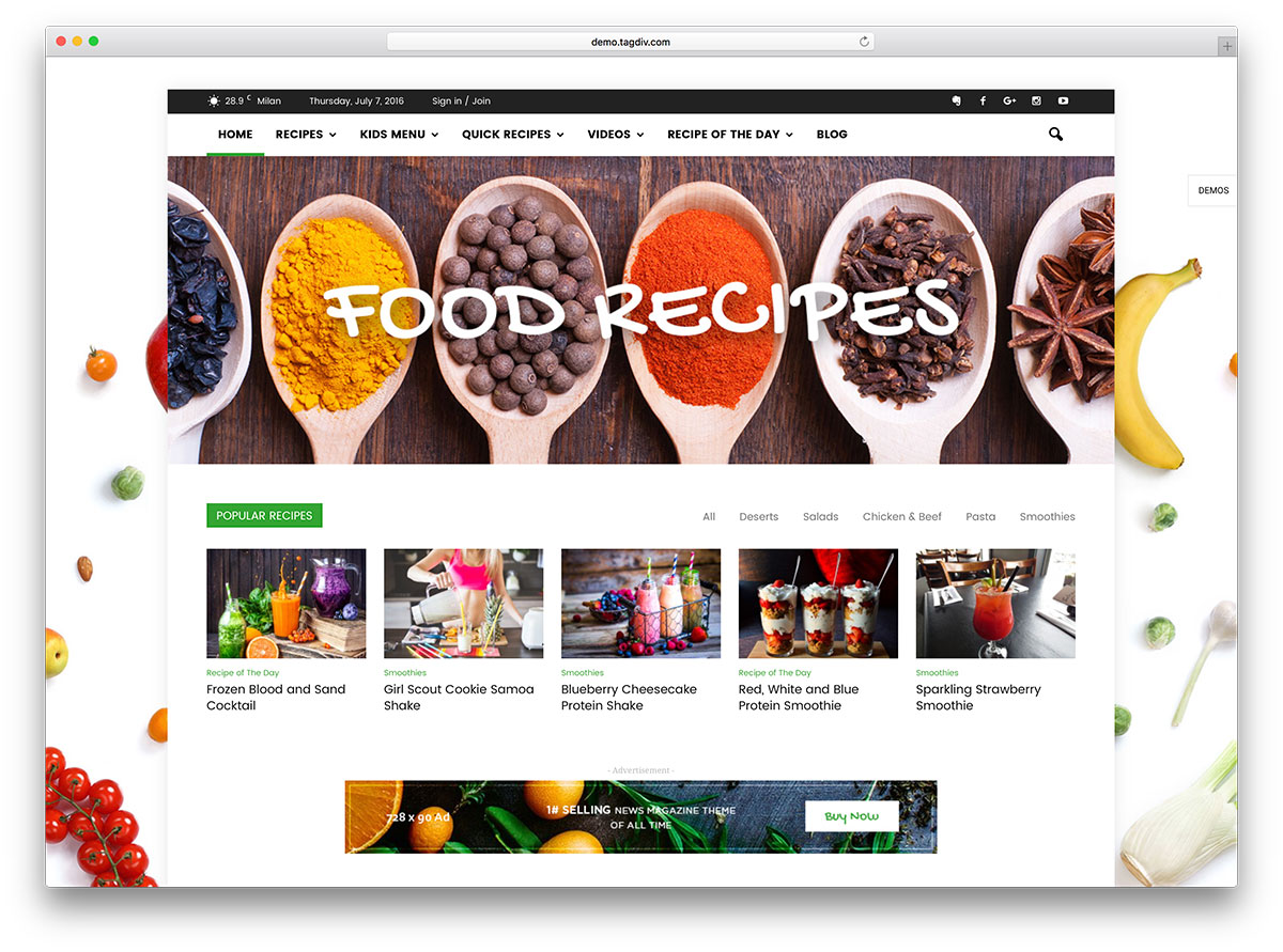 25 awesome food wordpress themes to share recipes 2018 colorlib newsmag food magazine wordpress website template forumfinder Gallery