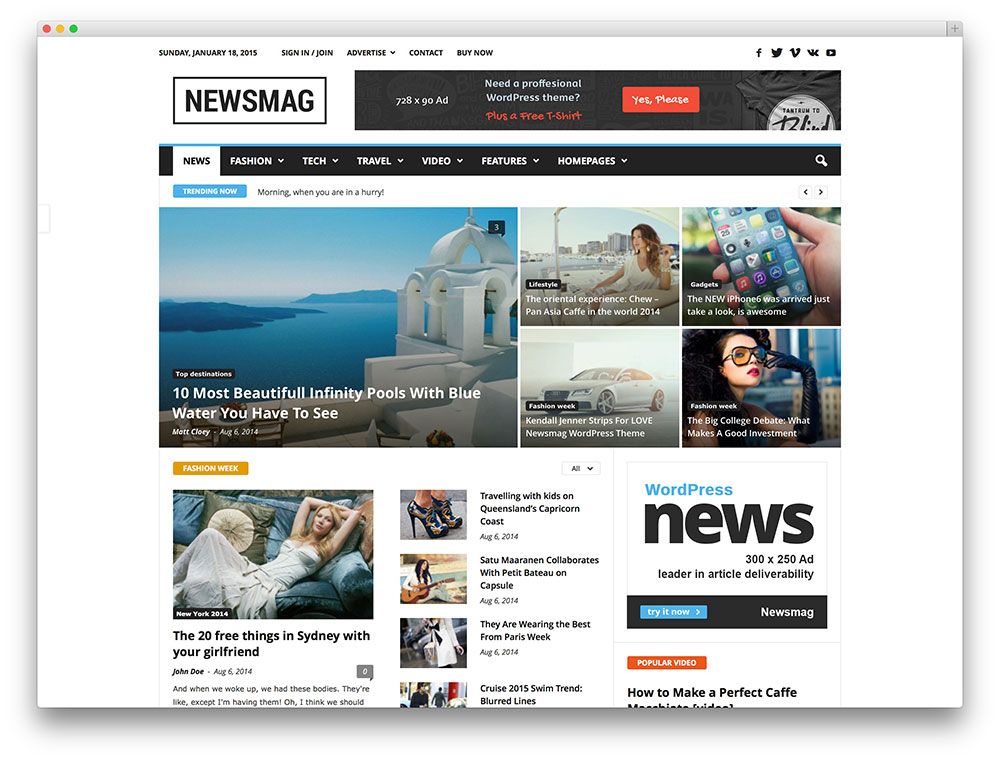 newsmag minimal magazine theme