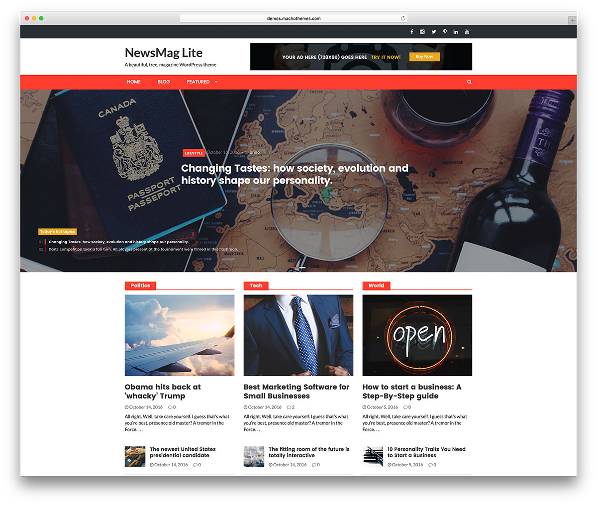 Newsmag Lite Is A Fresh And Innovative Gorgeous Easy To Use Supremely Resourceful Highly Responsive Free WordPress Online Magazine Website Theme
