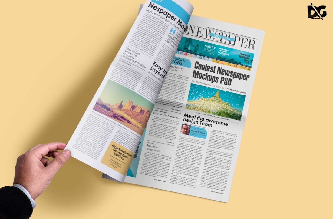 newspaper design psd mockup
