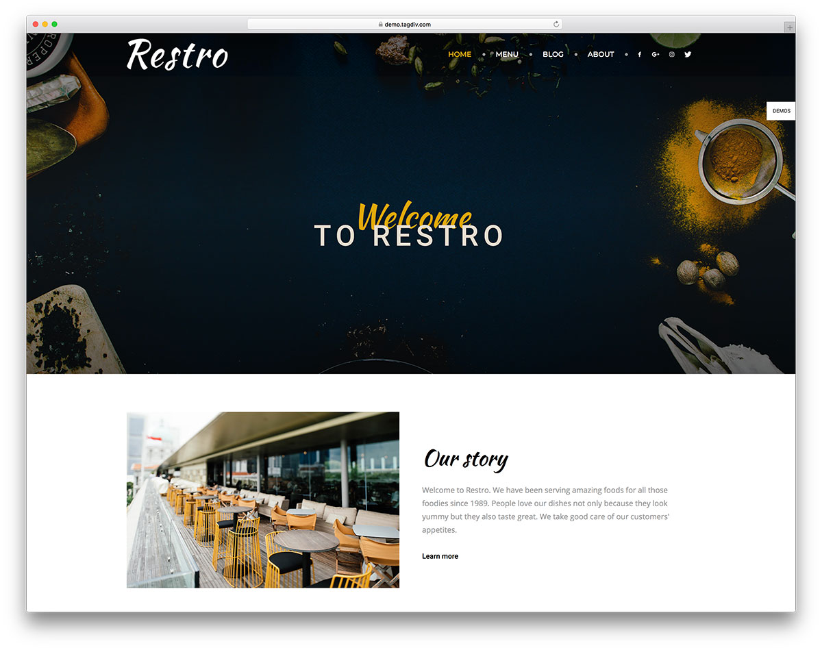 Newspaper restaurant wordpress