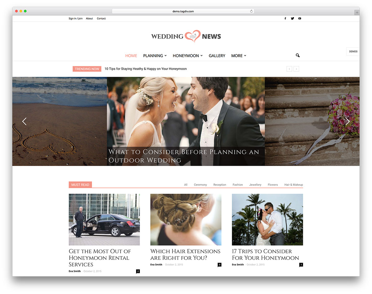 20 best wordpress wedding events marriage themes 2018 colorlib newspaper wedding wordpress website template junglespirit Image collections