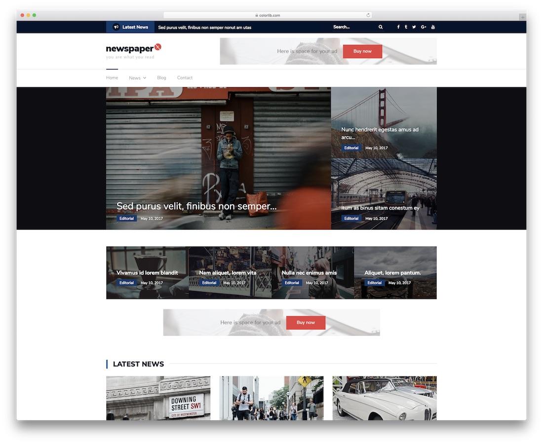 newspaper x free website template