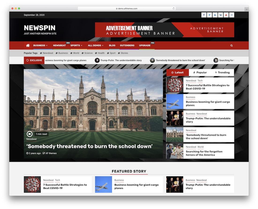 newspin free wordpress theme