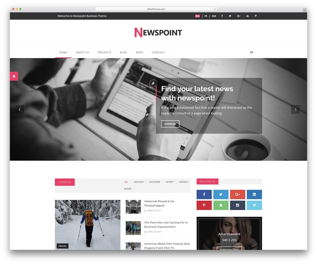 newspoint blog website template