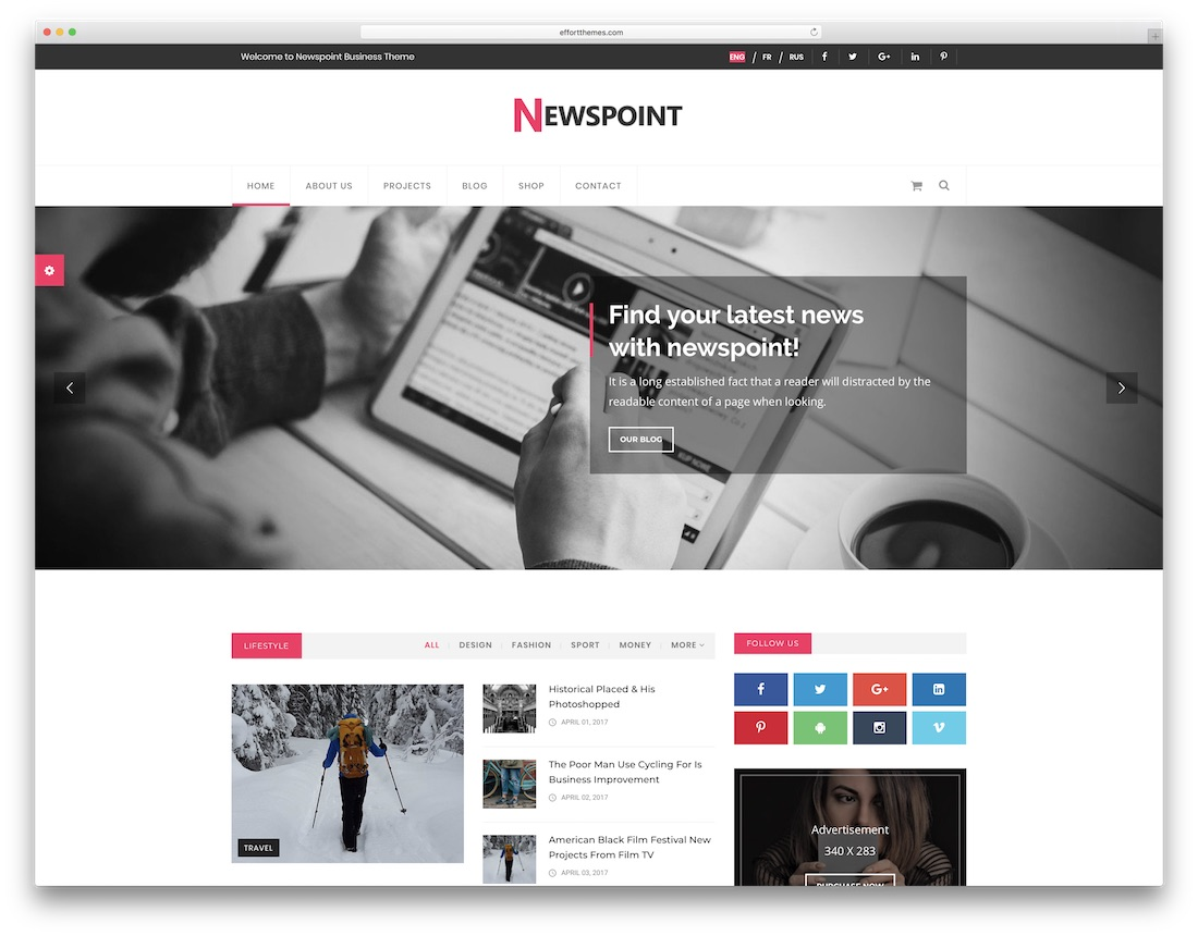 newspoint writer website template