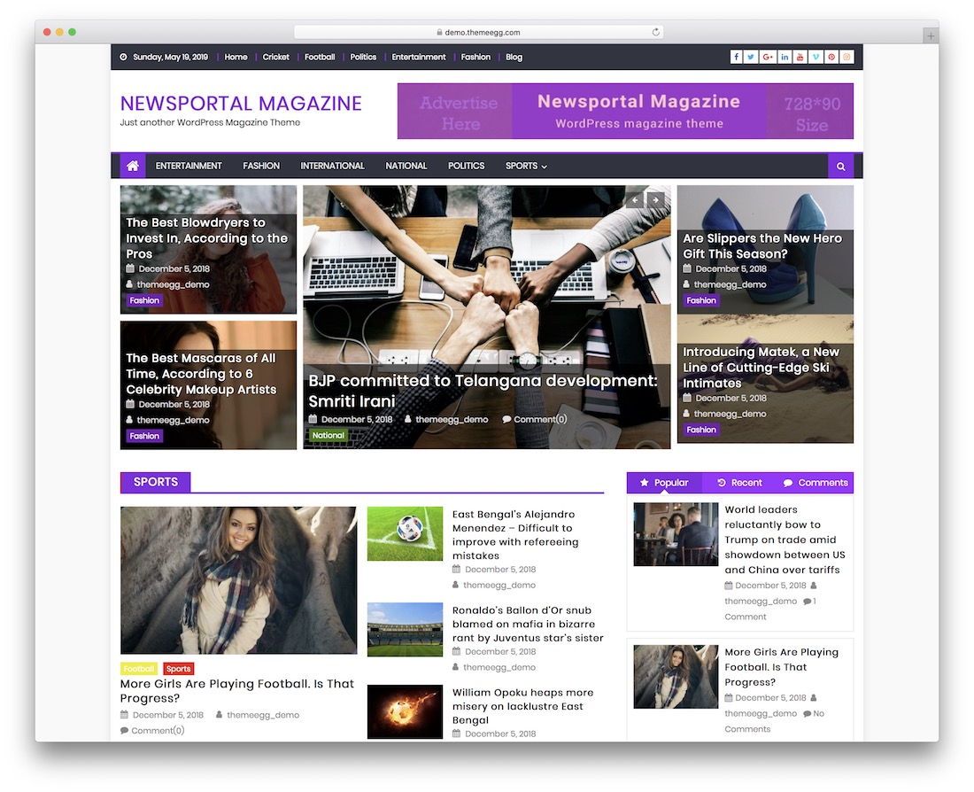 newsportal magazine free wordpress theme