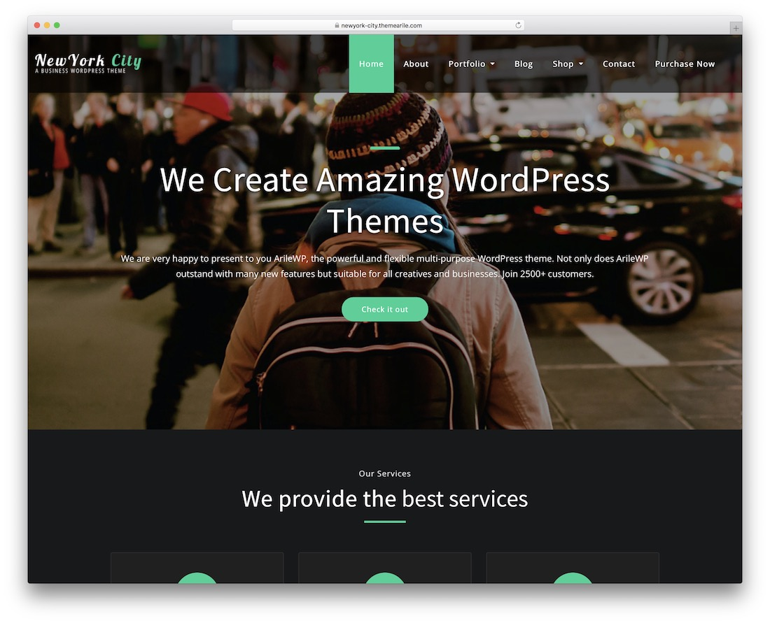 newyork city free bootstrap wordpress theme