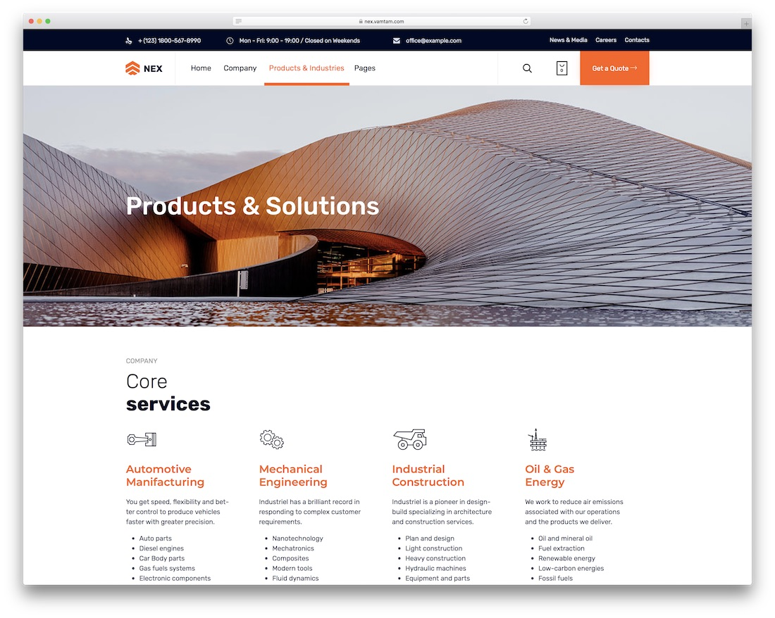 nex industrial wordpress theme