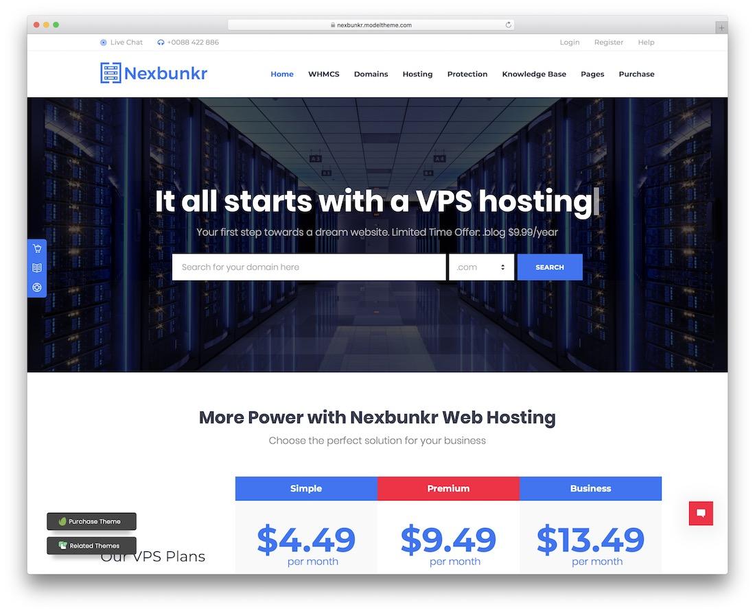 nexbunker web hosting website template