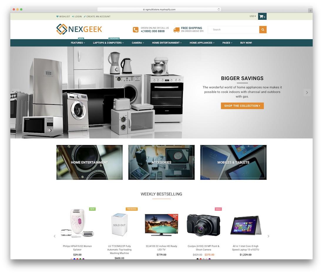 nexgeek shopify technology theme