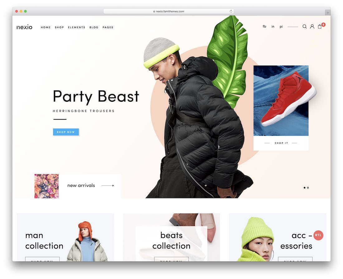 nexio ecommerce website template