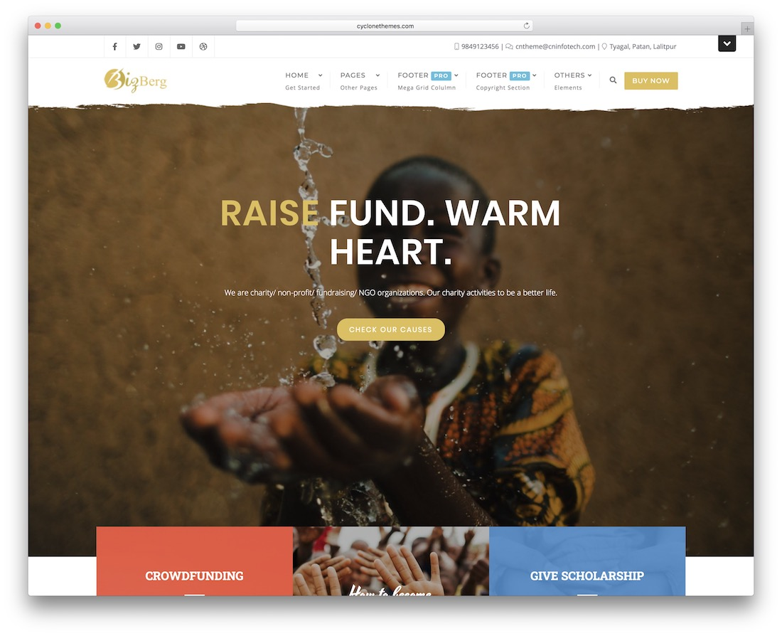 ngo charity fundraising free church wordpress theme