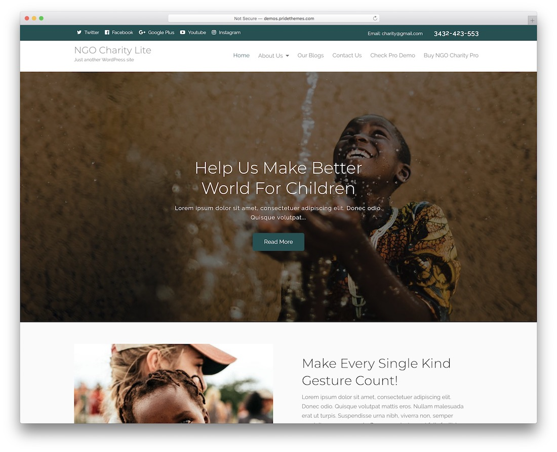 ngo charity lite free wordpress theme