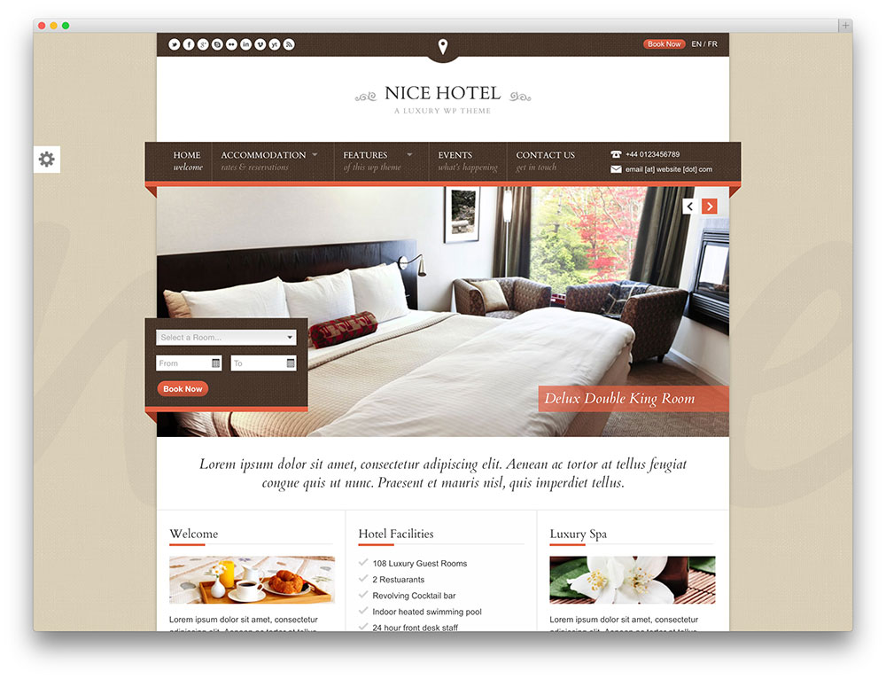 nice hotel - booking wordpress theme