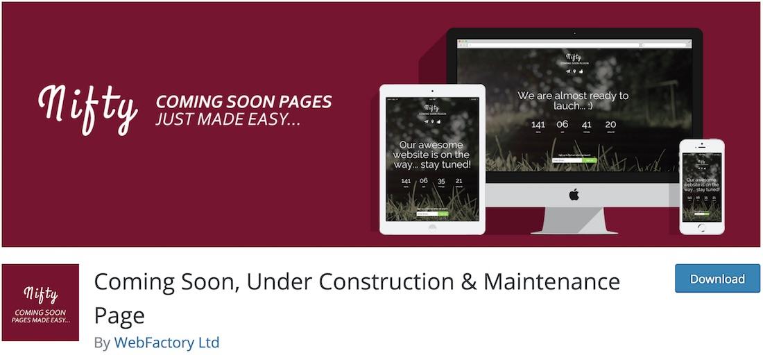 nifty coming soon wordpress maintenance plugin