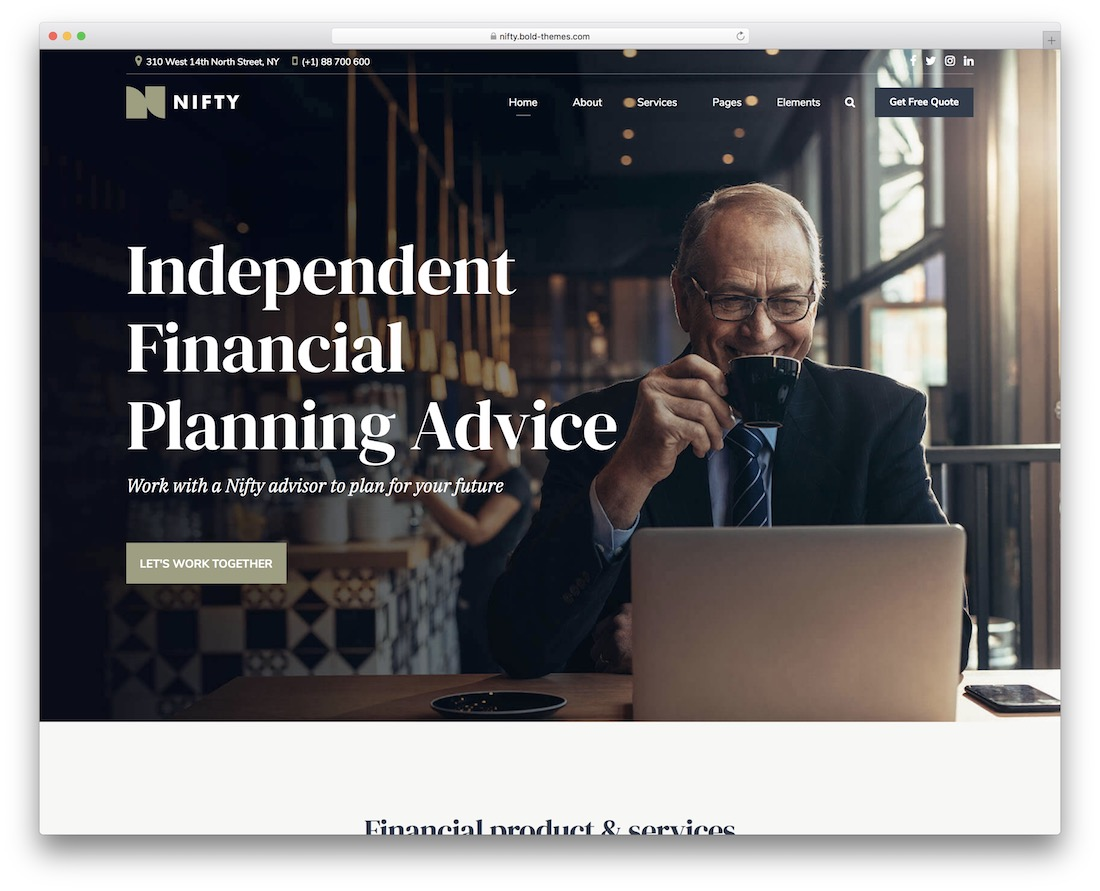 nifty financial consulting website template