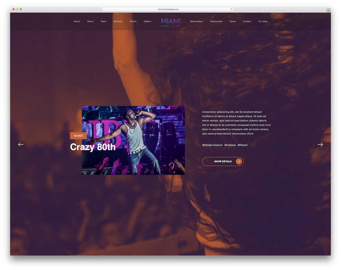 night club bootstrap music template