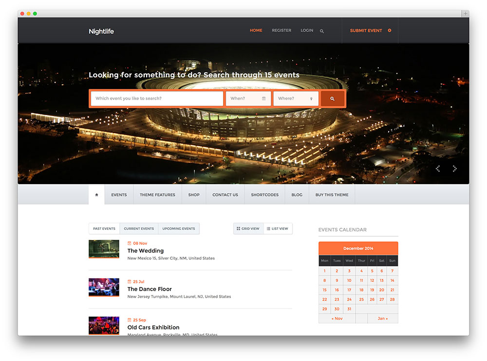 nightlife events directory theme