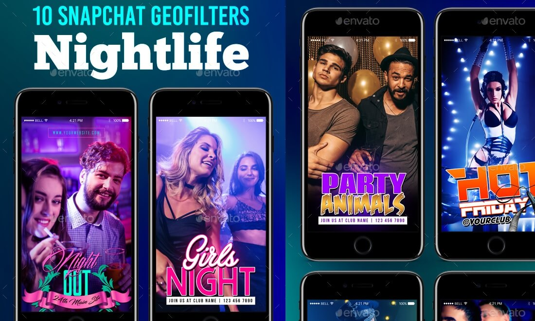 nightlife snapchat geofilters templates
