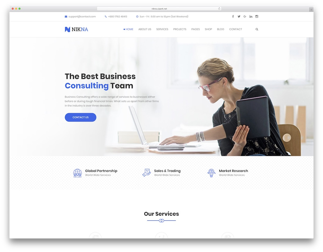 nikna consulting website template