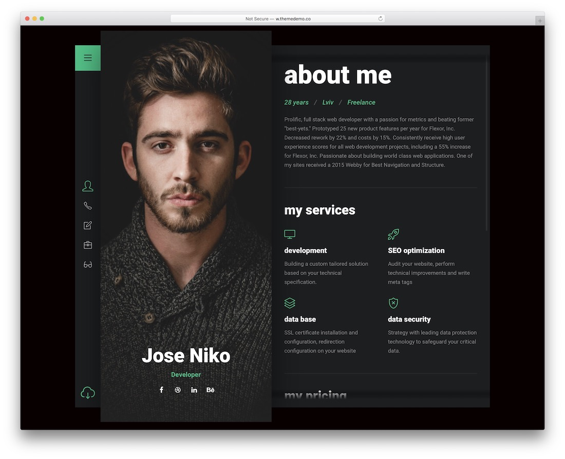 niko resume website template