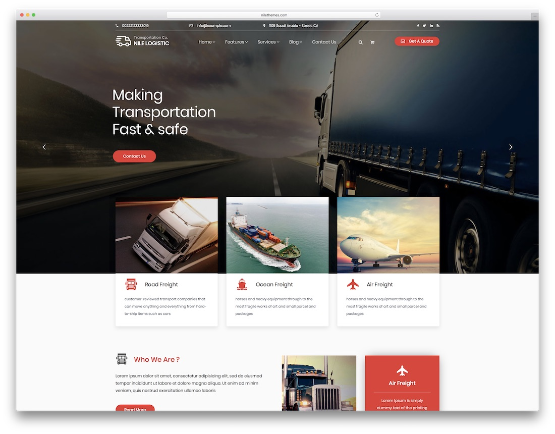 nile transportation logistics wordpress theme