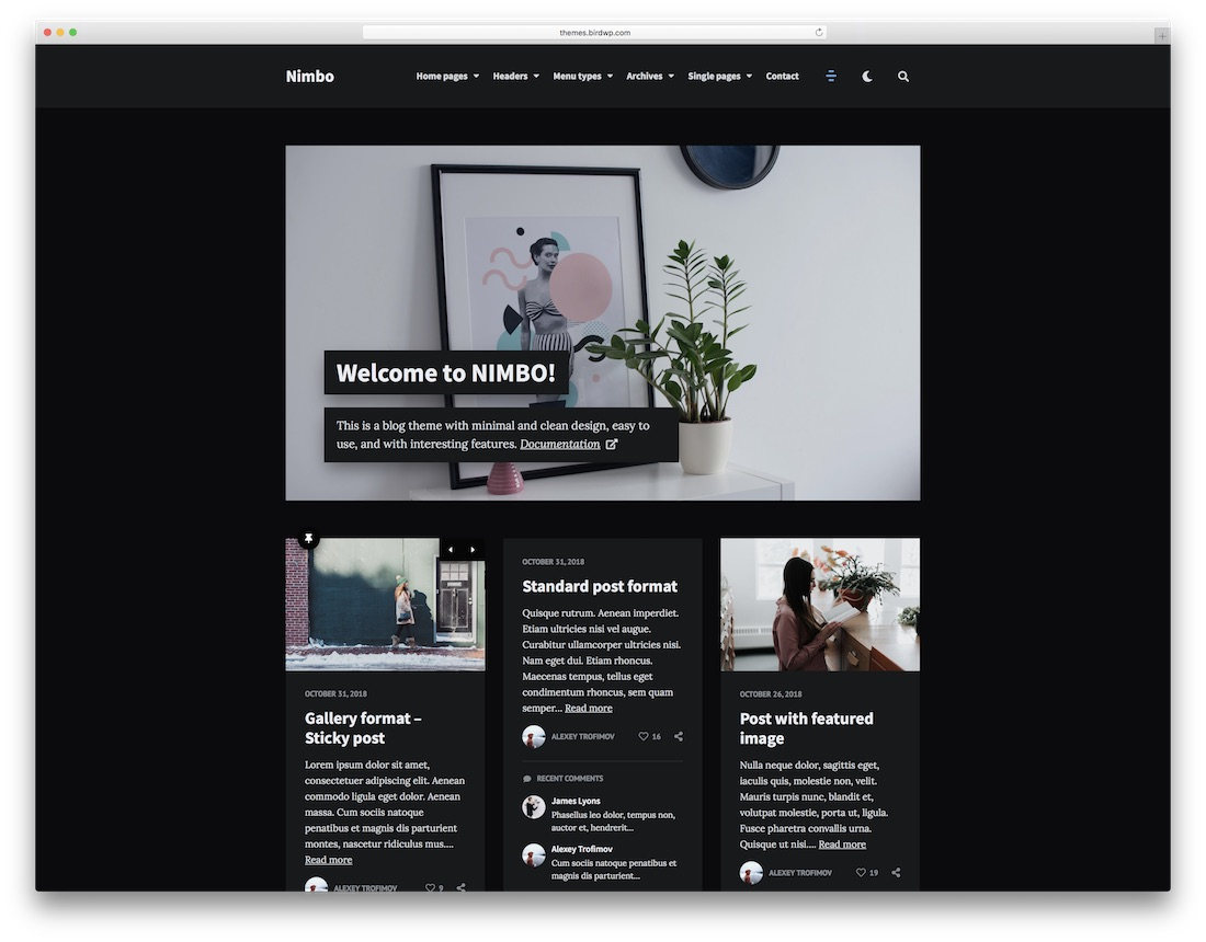 nimbo dark wordpress theme