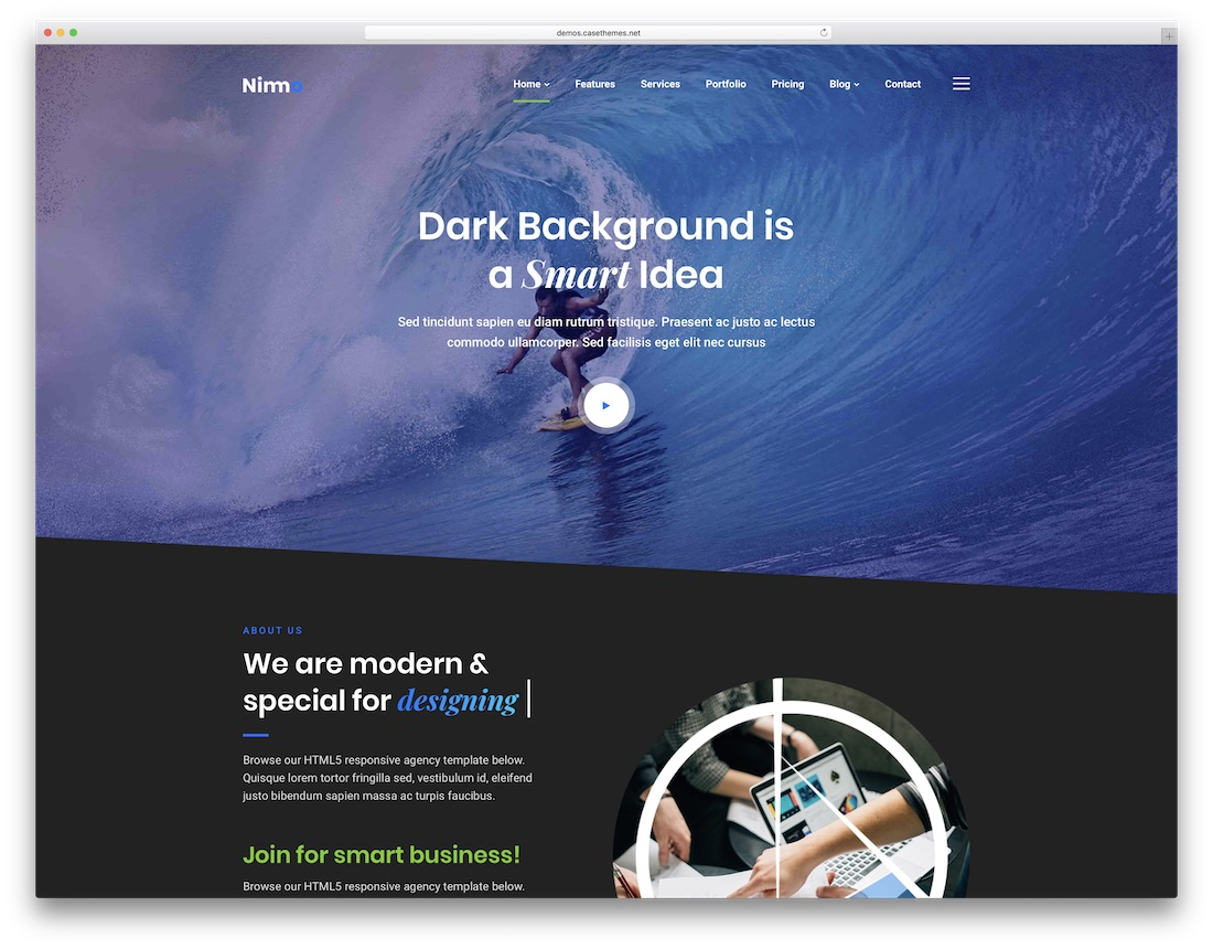 nimmo one page business theme