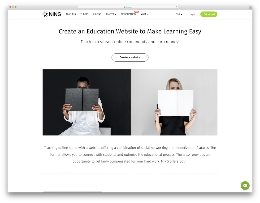 ning education website builder