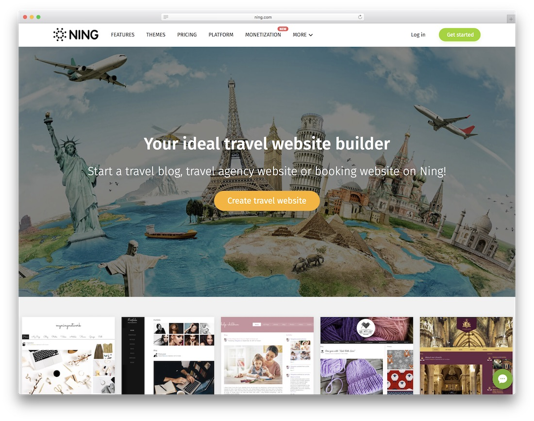 ning travel agency website builder