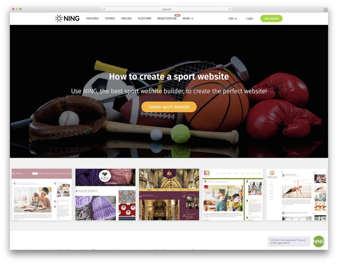 ning website builder for fitness studio