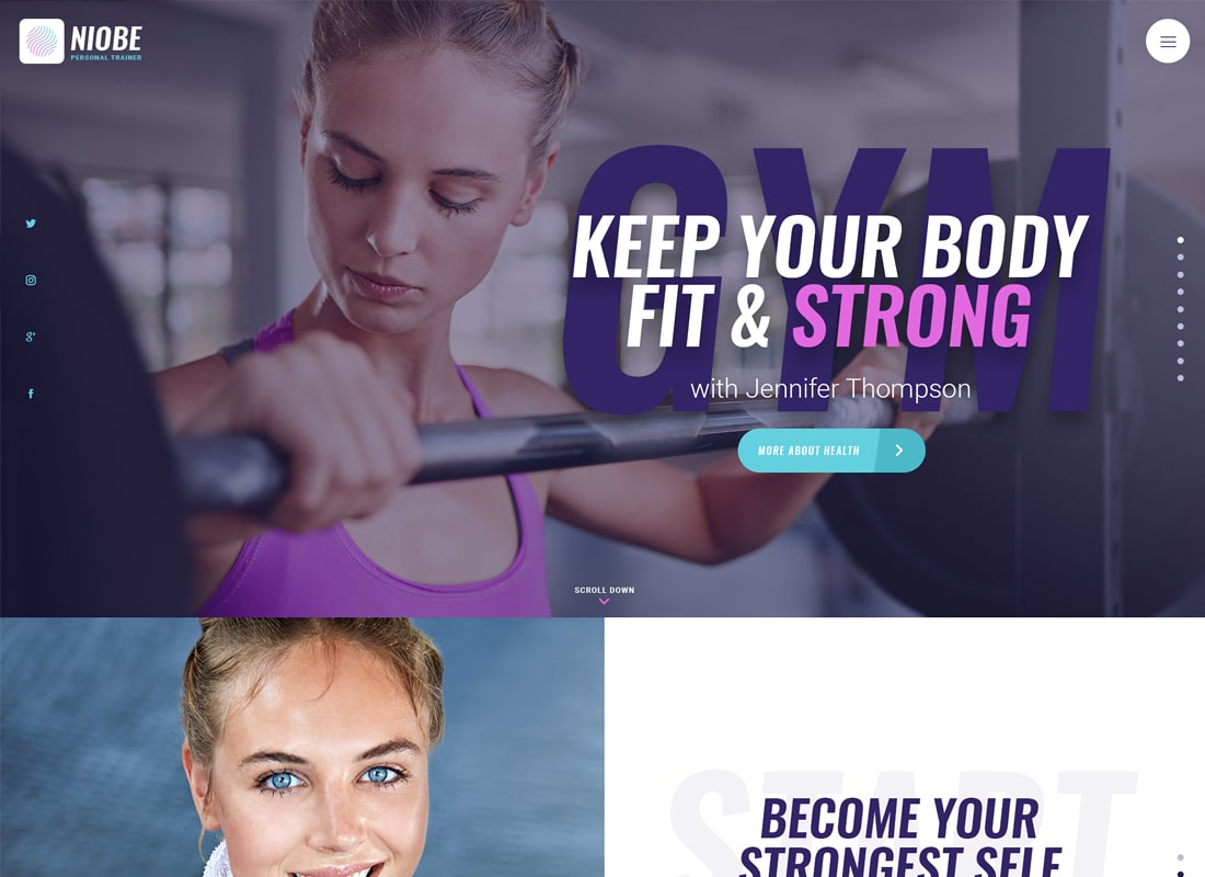 Niobe | A Gym Trainer & Nutrition Coach WordPress Theme