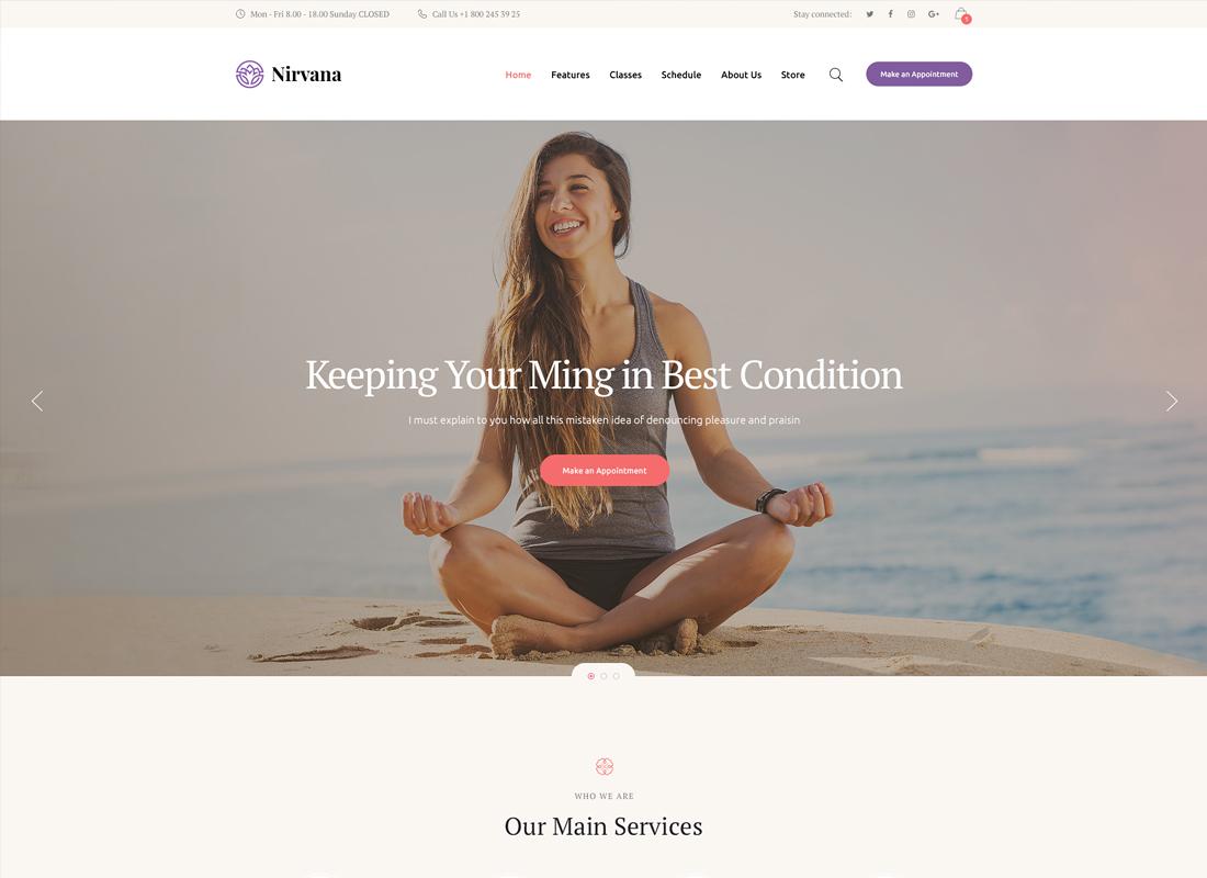 Nirvana | Yoga Studio and Fitness Club WordPress Theme