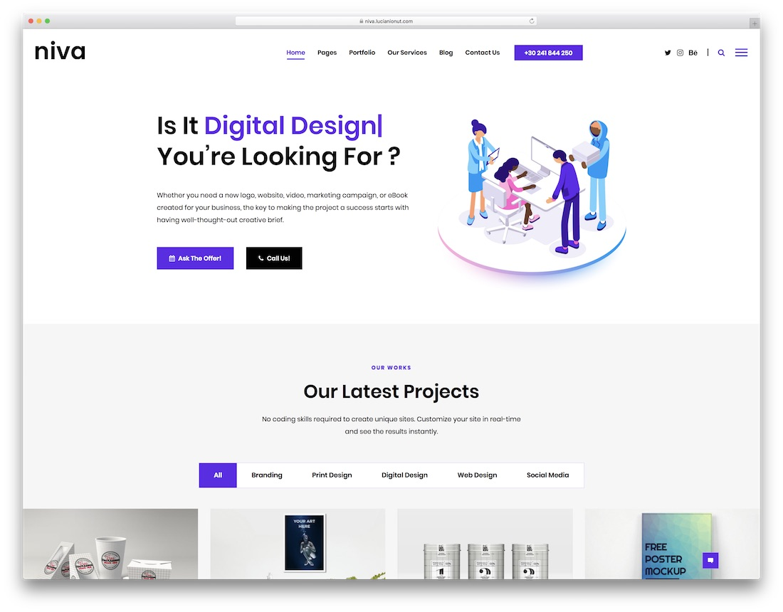 niva awesome wordpress portfolio theme