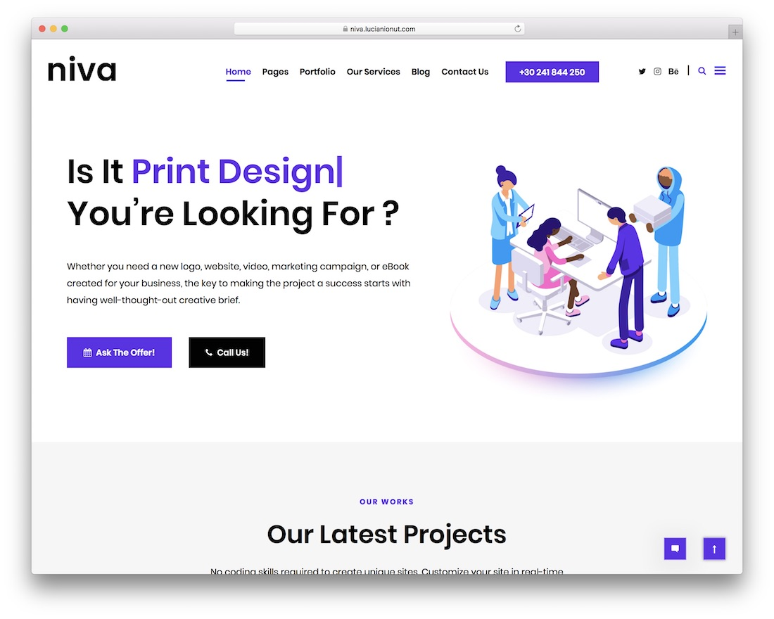 niva wordpress theme for freelancers