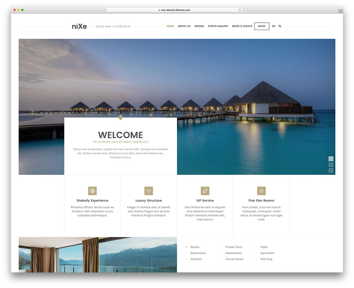Nixe- theme wordpress hotel