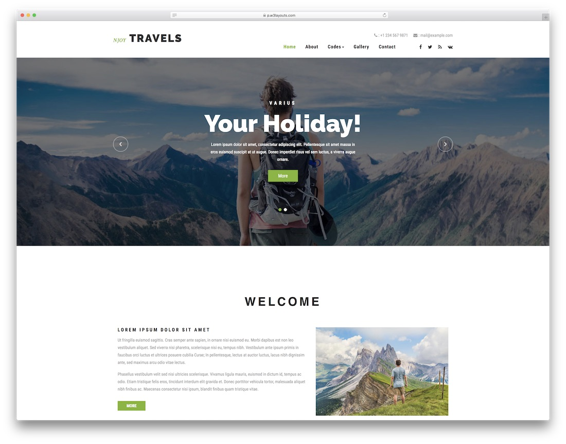 njoy travels website template