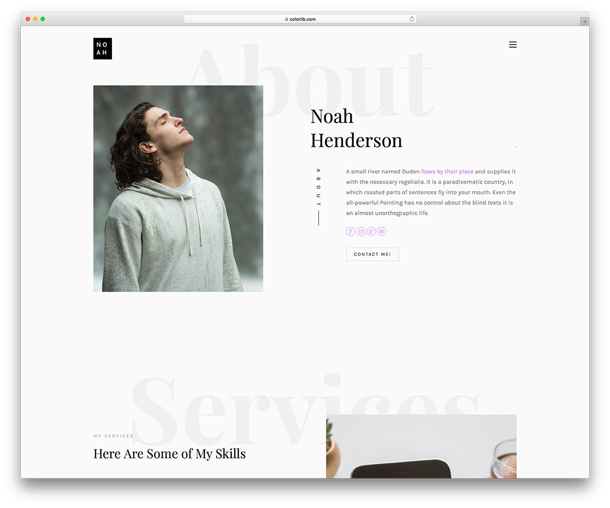 noah - free personal landing page website template