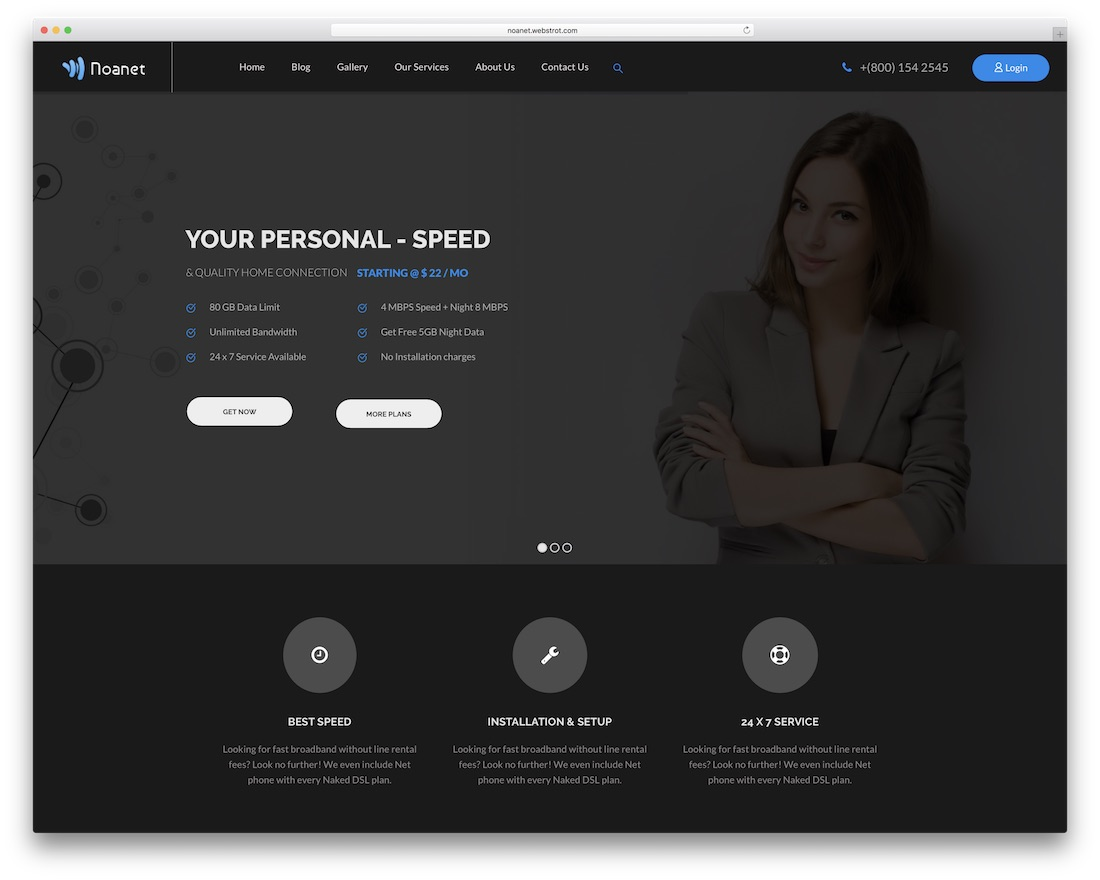 noanet web hosting website template